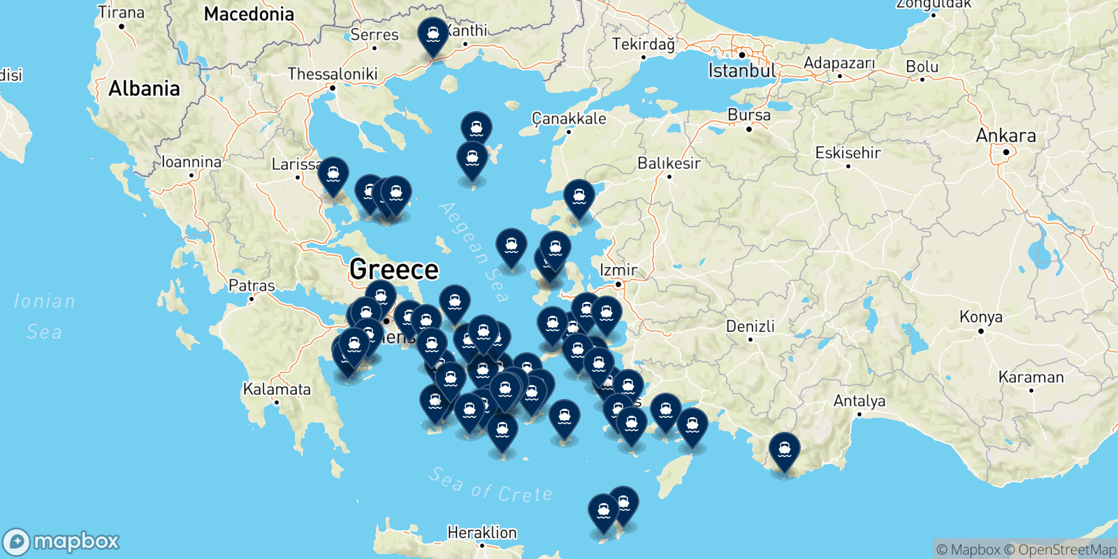 Mapa de los destinos Blue Star Ferries